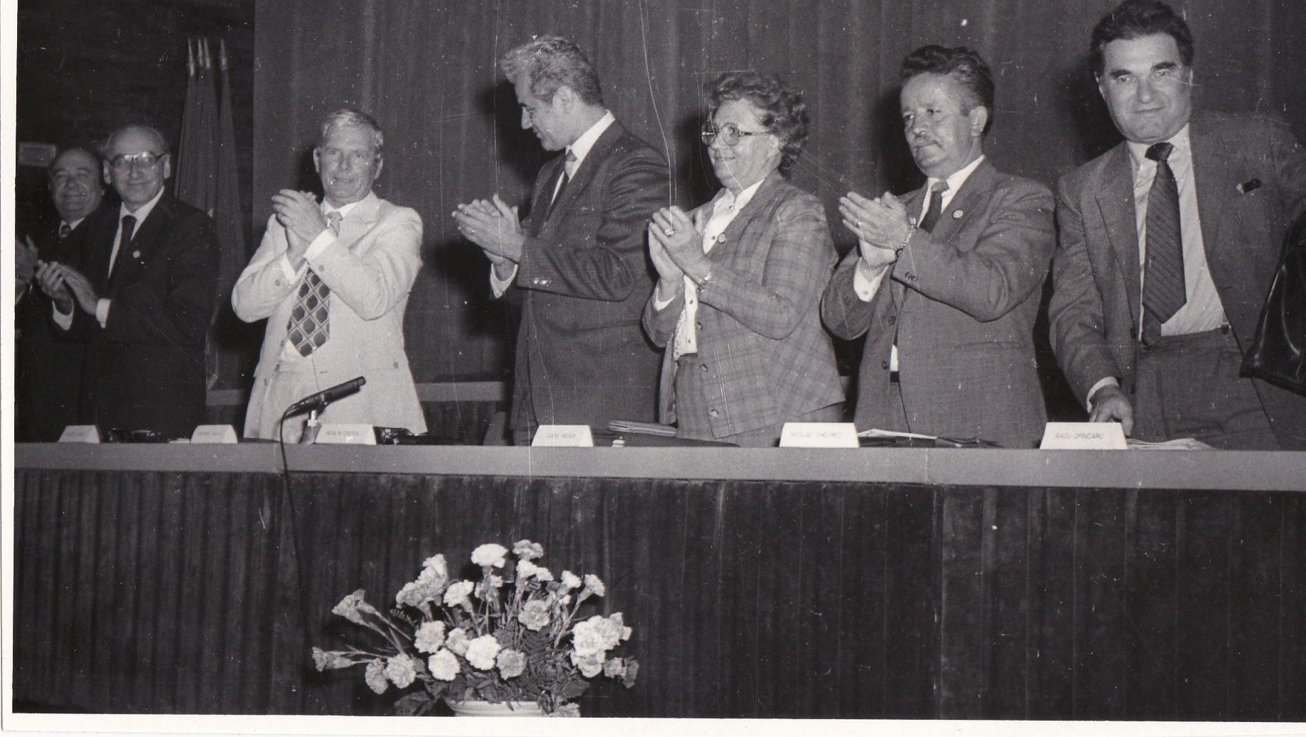 17 -Aniversare Icemenerg 25 de ani, 1985, Calin Mihaileanu, Gheorghe Balan, un oficial de la partid, Lucia Rosca, ...Ghelmeci, Jean Pomarleanu