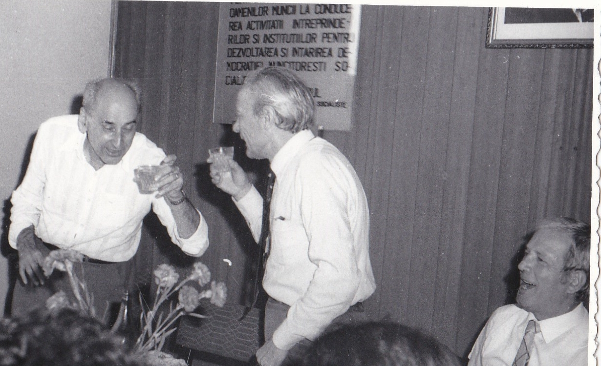 18. La pensionarea lui Emil Botner, aug. 1985, Calin Mihaileanu, Emil Botner, Gheorghe Balan