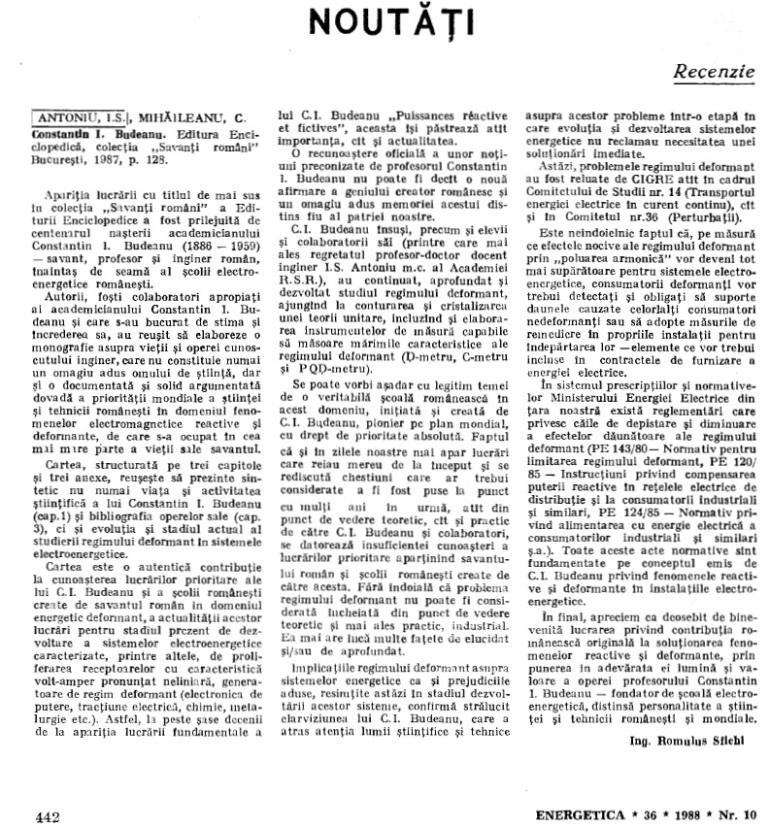 Recenzie la cartea despre Constantin I. Budeanu